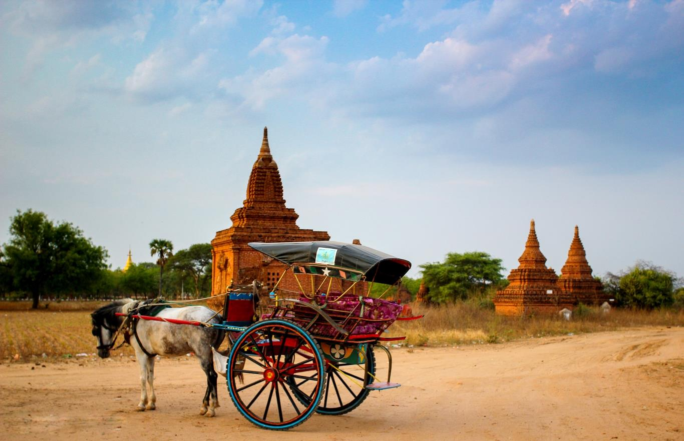 Horse and carriage is a common transport to get around Bagan