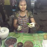 The lady with her betel nut shop at the corner of Mandalay street