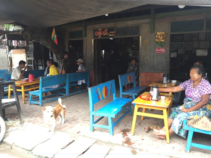 The teahouse is just outside the wet market in Mandalay